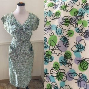 Vintage 1950s Novelty Print Butterfly Wiggle Dress